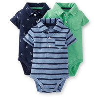 3-Pack Short-Sleeve Polo Bodysuits