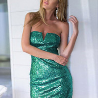 Green Sequined Strapless Bodycon Mini Dress