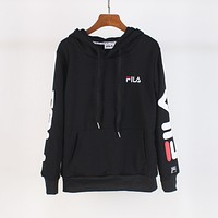 FILA 2018 autumn trend men and women fashion long-sleeved hooded sweater Black