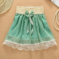 Sweet Bowknot Lace Dot Shirred Skirt