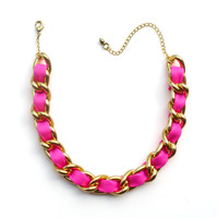 Neon pink leather and chain choker necklace