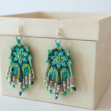 Boho Dangling Mandala Flower Macrame Beaded Earrings aqua green
