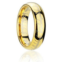Lord of the Rings Collectors Item Gold Stainless Steel Men Women Band Ring 6mm Wide Size 7.5