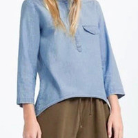 Blue Long Sleeves Asymmetrical Hem Denim Shirt