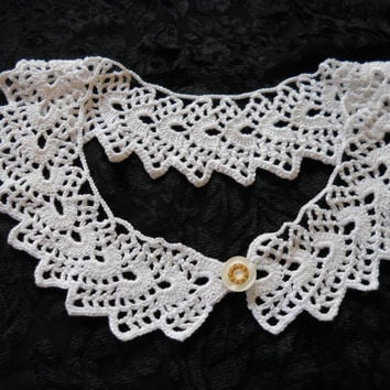 Crochet Lace Collar, white collar,