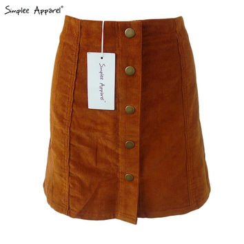 BeAvant Autumn corduroy preppy high waist skirt Single breasted vintage mini skirt School girl button a line skirt 90's