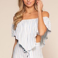 On My Way To Rio Off The Shoulder Stripe Crop Top - Blue