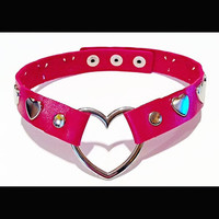 Vegan Red Leather Heart Choker with Silver Hearts Necklace