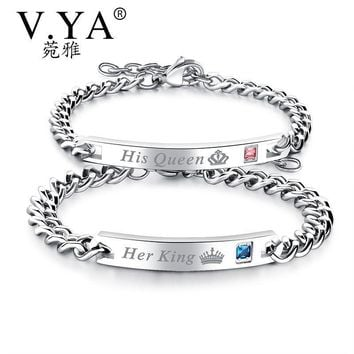 """Cool V.Ya Unique Gift for Lover """"His Queen""""""""Her King """" Couple Bracelets Stainless Steel Bracelets For Women Men Jewelry Drop ShippingAT_93_12"""