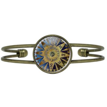 Gold and Blue Compass Bracelet