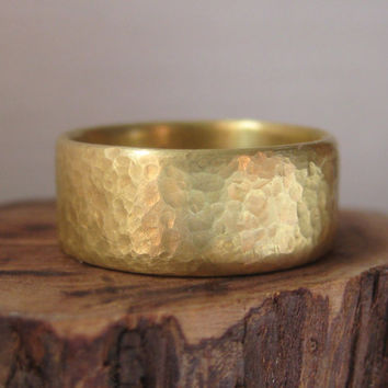 Fairtrade Gold Women's Wedding Band, Extra Wide,  Using 18k Gold with a Hand Hammered Finish.
