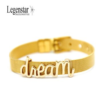 Legenstar KEEP Collection Gold Mesh Stainless Steel Keeper Bracelet with Dream Letter Charms Watch Band Bracelet for Women