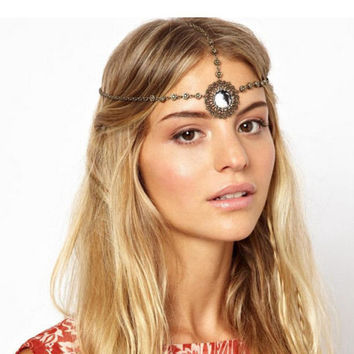 Boho Handmade Rhinestone Beads Head Chain Headband Headpiece Hair Jewelry