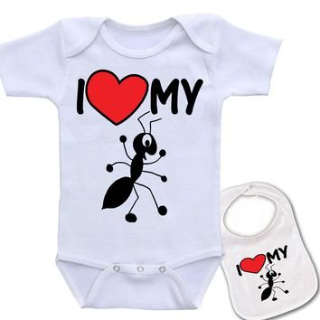 """Ant Clipart """" I Love My Aunt """" Family theme Onesuit & bib (Available in 5 Colors)"""