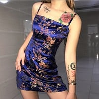 Sexy Chinese Style Satin Jacquard Sling Dress [3883075534945]