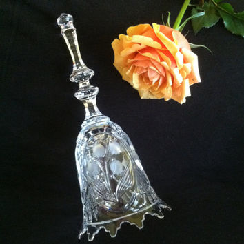 Crystal Bell Clear Cut Etched Glass Wedding Bell With Lily of the Valley Flowers and Scalloped Edges Vintage Collectible Table Centerpiece