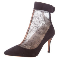 Valentino Lace & Suede Booties