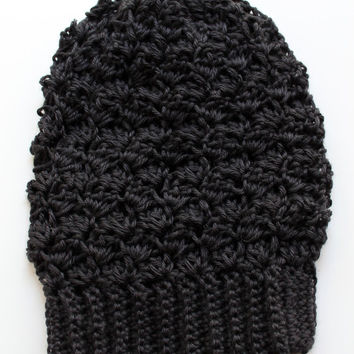 Crochet Slouchy Hat, Crochet Slouchy Beanie, Crochet Beanie in Black, The Bailey Slouchy Beanie, Soft Acrylic
