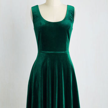 Mid-length Sleeveless Fit & Flare Zesty Festivities Dress in Emerald