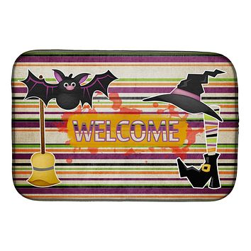 Witch Costume and Broom on Stripes Halloween Dish Drying Mat SB3010DDM
