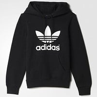 Black Adidas Print Women's Long Sleeve Hoodies Sweatshirts