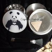 Panda Bear Love Heart 4 Piece Herb Grinder Pollen Screen Scraper Bag Brush