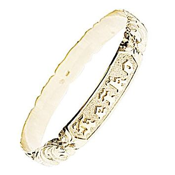 14K Pink Gold 8mm Plumeria King Scroll Raise Letter Cut Out Edge Bangle(Thickness 1.0mm)