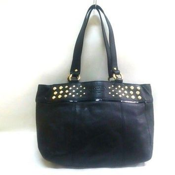 Auth COACH Leather Studs East West Tote F15235 Black Leather Tote Bag