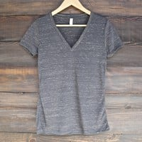 the go-to jersey short sleeve deep v-neck tee - charcoal marble