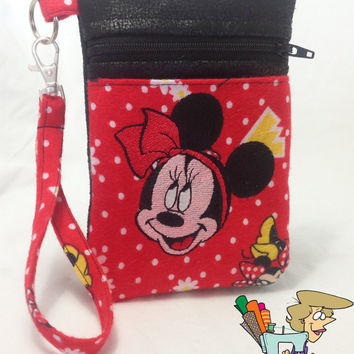 Minnie Mouse Vegan Leather Cell Phone Wristlet