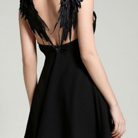 2016 New Design Hollow Wing Back Embellish A-Line Mini Dress