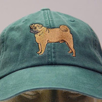 PUG DOG HAT - One Embroidered Men Women Cap - Price Embroidery Apparel - 24 Color Caps Available