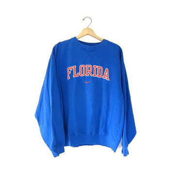 vintage FLORDIA sweatshirt. NIKE sweatshirt. Blue & Orange sweatshirt. Football Sports pullover. Mens Large