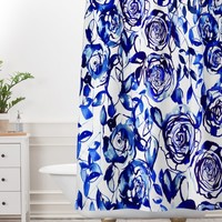 Holly Sharpe Painted Blue Shower Curtain And Mat