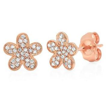 0.16ct 14k Rose Gold Diamond Flower Earring