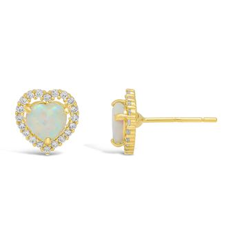 .50 cttw Halo Heart 5MM Created Opal 14K Yellow Gold Stud Earrings