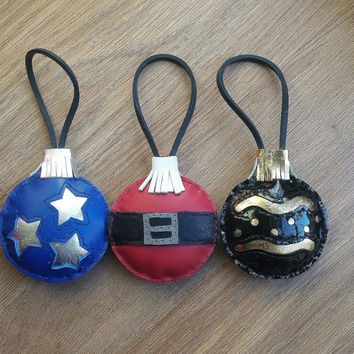 Set 3 Christmas ornaments tree, leather christmas ornaments, christmas balls