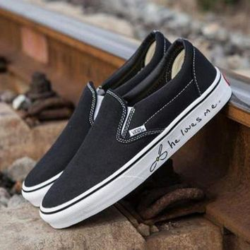 VONEO5 VANS x Love Me Slip-On Old Skool Canvas Flat Sneakers Sport Shoes