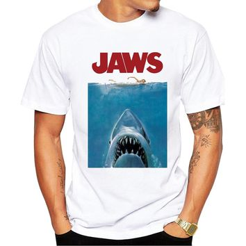 TEEHEART 2017 Summer Vintage Movie Jaws  Design T Shirt Men's High Quality  Hipster Shark Print Tops Tees PB561