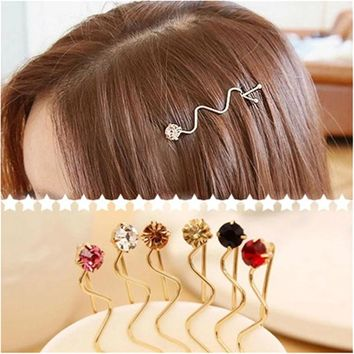 Women Fashion Rhinestone Crystal Hair Clips Wedding Bridal Hair Accessories Jewelry Hairpins Wave Barrettes Headdress 4pcs