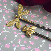 Butterfly Dragonfly, Bee, Insect, Woodland, Hair Pins, Bridal, Bridesmaids, Romantic- Bobby Pins