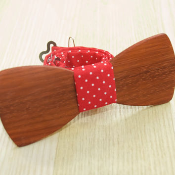 Wood Bow Tie. Wooden Bow Tie. Polka Dot Boys Bowtie. Unique Wood Bowtie. Wooden Bowtie. Mens Bow Tie. Hand Made. Personal Gift Men Accessory