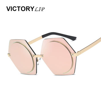 VictoryLip 2017 New Round Luxury Women Sunglasses Brand Design Vintage Shades Female Hexagon Mirror Sun Glasses Hot Sale gafas