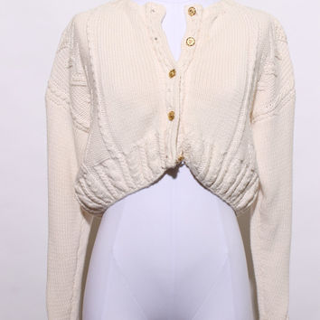 vintage 80s cropped cardigan / 1980s crop sweater / white cable knit sweater / 1980s cropped sweater / gold buttons / size medium / K26