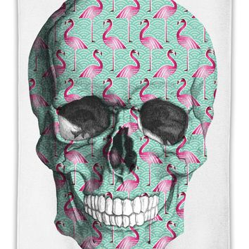 Flamingo Pattern Skull  MicroFiber Towel W/ Custom Printed Designs| Eco-Friendly Material| Machine Washable| Available in 3 sizes| Premium Bathroom Supplies By Styleart
