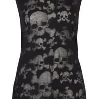 Featuring super soft semi-sheer burnout skull tank top features lightweight stretch fabric with burnout skull crossbones and skulls pattern throughout, a round neckline with keyhole design and a gunmetal skull button closure, sleeveless, and finish with a