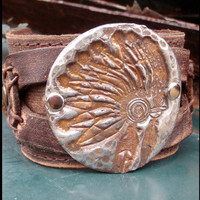 Molten Metal Leather Indian Headdress Cuff Bracelet 069K