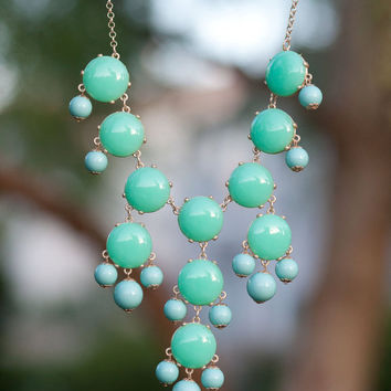 J Crew Bubble Necklace Inspired - Mint/Turquoise Bubble Statement Bib Necklace Wedding Necklace
