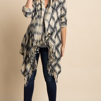 Taupe Plaid Print Draped Front Maternity Fringe Cardigan