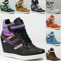 High Top Lace Up Velcro Fashion Wedge Sneakers Wild Diva Sparkle-13